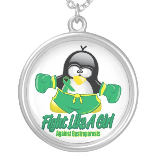 Gastroparesis Fighting Penguin Personalized Necklace