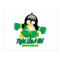 Gastroparesis Fighting Penguin Postcard