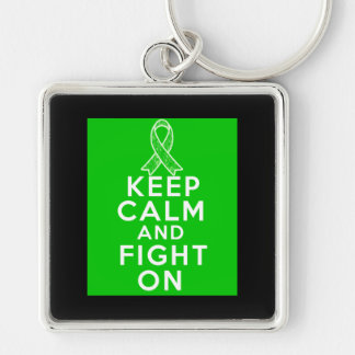 Gastroparesis Keep Calm and Fight On Silver-Colored Square Keychain