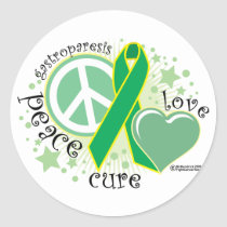 Gastroparesis Peace Love Cure Classic Round Sticker