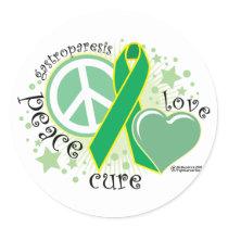 Gastroparesis Peace Love Cure Classic Round Sticker