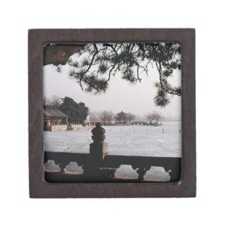 Gate and foliage by frozen lake, China Jewelry Box