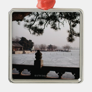 Gate and foliage by frozen lake, China Metal Ornament