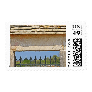 Gate and key stone carved with Montrachet, Postage Stamp