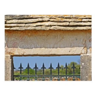 Gate and key stone carved with Montrachet, Postcard
