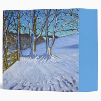 Gate and trees Winter Dam Lane Derbyshire 2013 3 Ring Binder