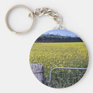 Gate in Canola Fields Cowra Basic Round Button Keychain