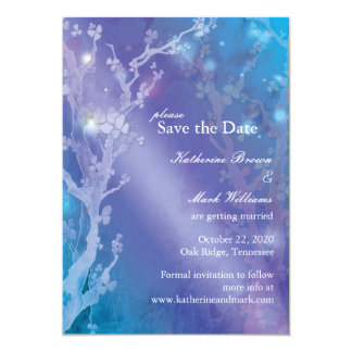 Gate of Dawn Blue Dreamy Wedding Save the Date Announcement