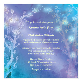 Gate of Dawn Shimmering Blue Wedding Card