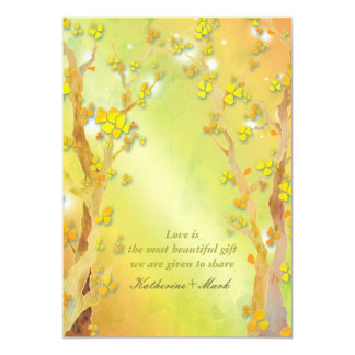 Gate of Dawn Tree Themed Yellow Spring Wedding Personalized Invitation
