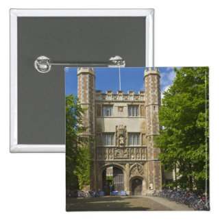 Gate to Trinity College and rows of bicycles, Button