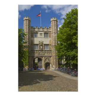 Gate to Trinity College and rows of bicycles Print