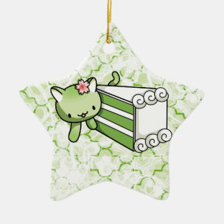 Gateau Matcha Kitty Ceramic Ornament