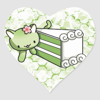 Gateau Matcha Kitty Heart Sticker