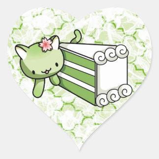 Gateau Matcha Kitty Heart Sticker