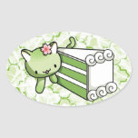 Gateau Matcha Kitty Oval Sticker