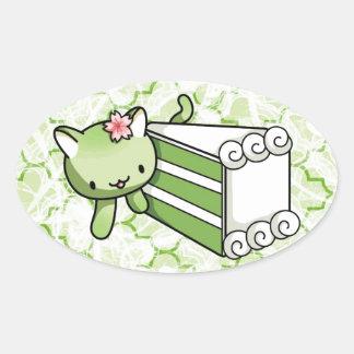 Gateau Matcha Kitty Oval Sticker