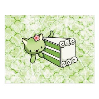 Gateau Matcha Kitty Postcard