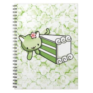 Gateau Matcha Kitty Spiral Notebook