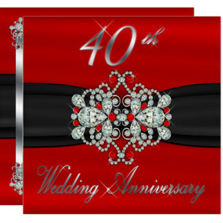 Gated Look Diamond Rubies 40th Wedding Anniversary Card