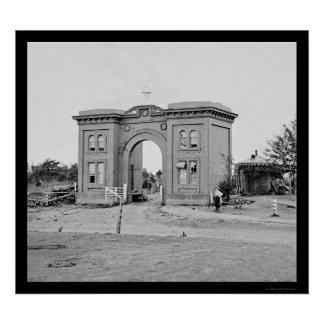 Gatehouse del cementerio en Gettysburg 1863 Póster