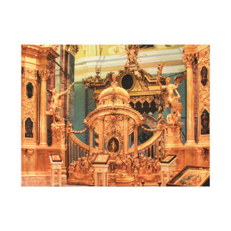 Gates and golden iconostasis of Peter and Paul Cat Canvas Print