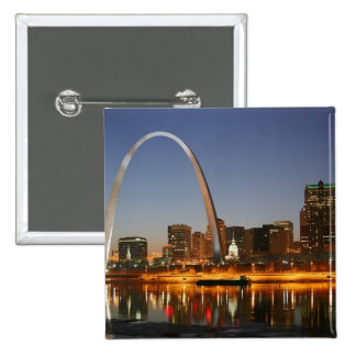 Gateway Arch St. Louis Mississippi at Night 2 Inch Square Button