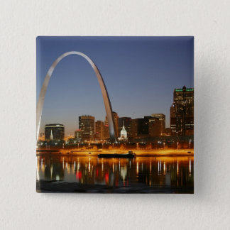 Gateway Arch St. Louis Mississippi at Night Button