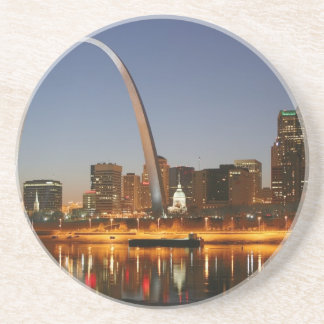 Gateway Arch St. Louis Mississippi at Night Drink Coasters