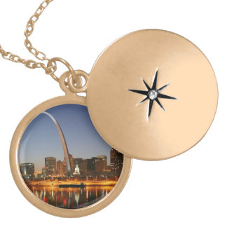 Gateway Arch St. Louis Mississippi at Night Gold Plated Necklace