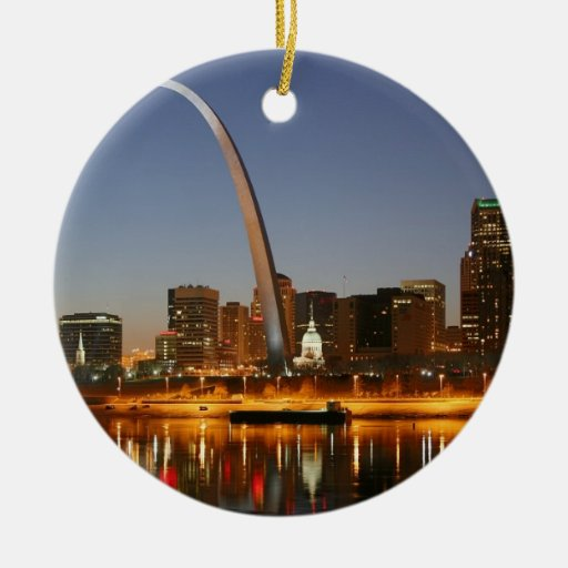 Gateway Arch St. Louis Mississippi at Night Double-Sided Ceramic Round Christmas Ornament