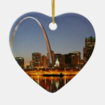Gateway Arch St. Louis Mississippi at Night Double-Sided Heart Ceramic Christmas Ornament
