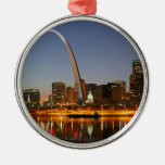 Gateway Arch St. Louis Mississippi at Night Round Metal Christmas Ornament