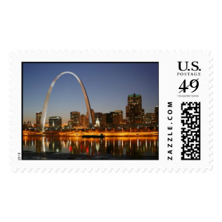 Gateway Arch St. Louis Mississippi at Night Postage Stamp