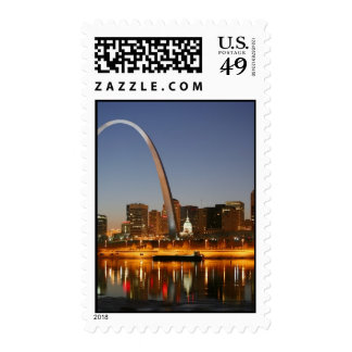 Gateway Arch St. Louis Mississippi at Night Postage