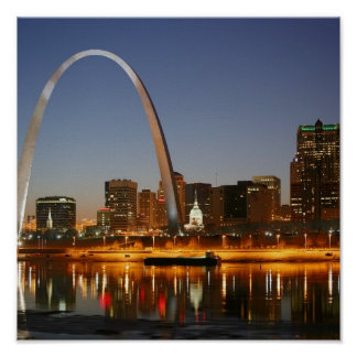 Gateway Arch St. Louis Mississippi at Night Poster