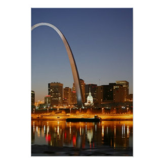Gateway Arch St. Louis Mississippi at Night Print