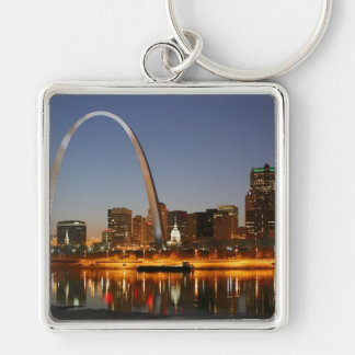 Gateway Arch St. Louis Mississippi at Night Silver-Colored Square Keychain