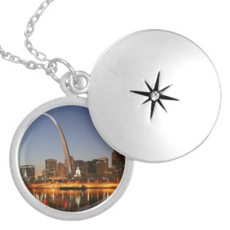 Gateway Arch St. Louis Mississippi at Night Silver Plated Necklace