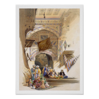 Gateway of a Bazaar, Grand Cairo, pub. 1846 (litho Poster