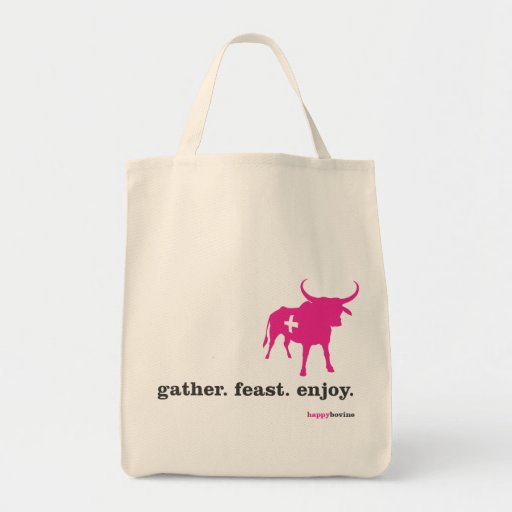 gather.feast.enjoy. grocery tote bag
