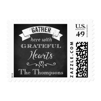 Gather Here With Grateful Hearts Chalkboard Stamp