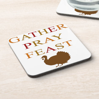 Gather Pray Feast Thanksgiving Coaster