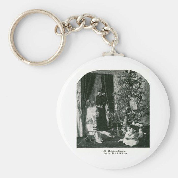 Gather 'round the Tree - Vintage Stereoview Keychain
