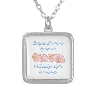 Gather Seashells Square Pendant Necklace
