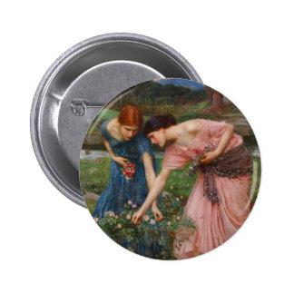 Gather Ye Rosebuds by John W. Waterhouse Button