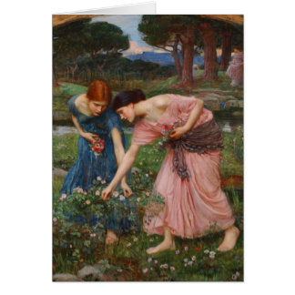 Gather Ye Rosebuds by John W. Waterhouse Greeting Cards
