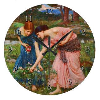 Gather Ye Rosebuds While Ye May by John Waterhouse Large Clock