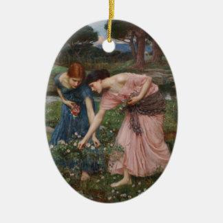 Gather Ye Rosebuds While Ye May Ceramic Ornament