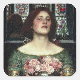 'Gather Ye Rosebuds While Ye May' John William Wat Square Sticker